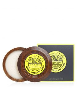 West Indian Lime Shaving Soap in Wooden Bowl-0